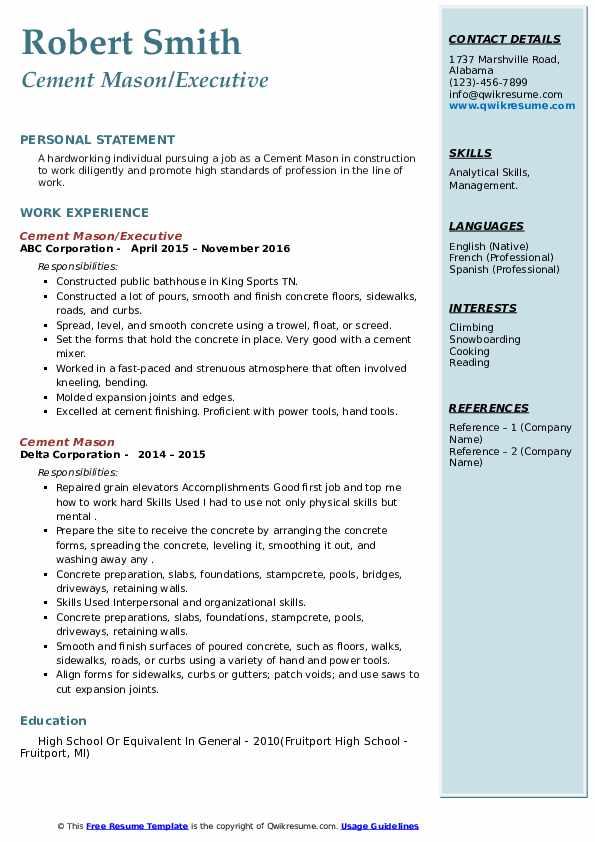 cement mason resume samples  qwikresume