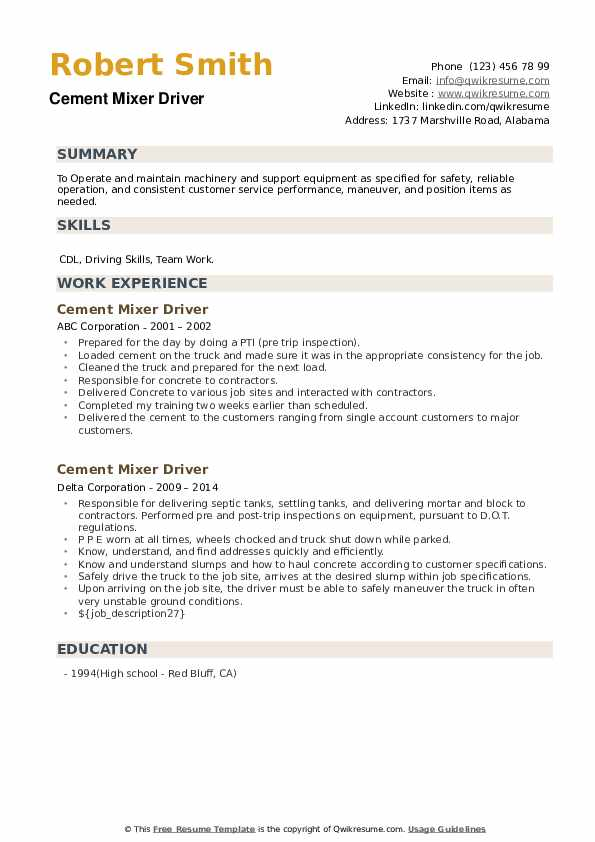 Cement Mixer Driver Resume example
