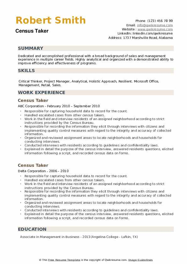 Census Taker Resume example
