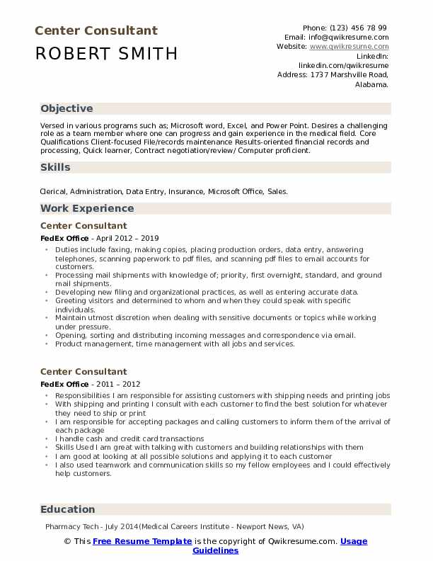 Center Consultant Resume Template
