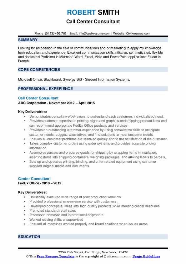 Call Center Consultant Resume Model
