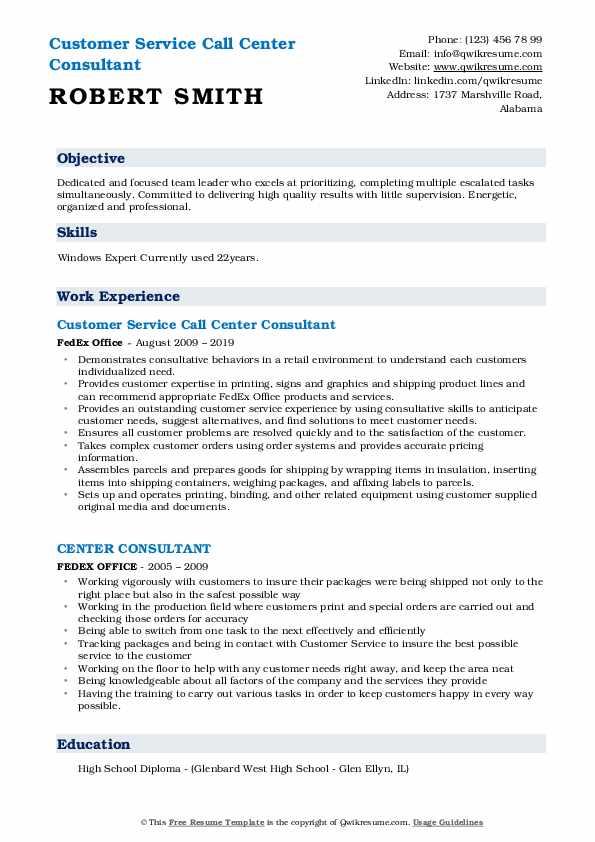 Customer Service Call Center Consultant  Resume Template