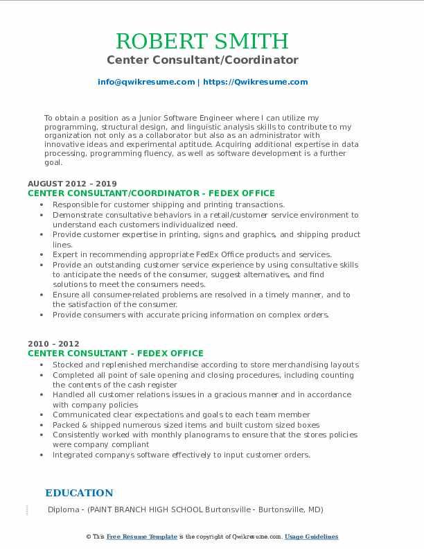 Center Consultant/Coordinator Resume Template