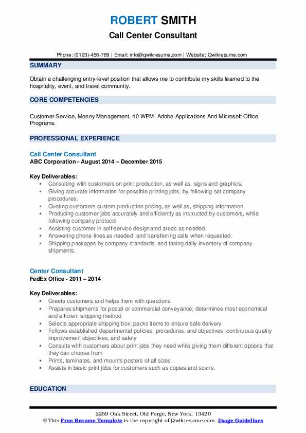 Call Center Consultant Resume Format
