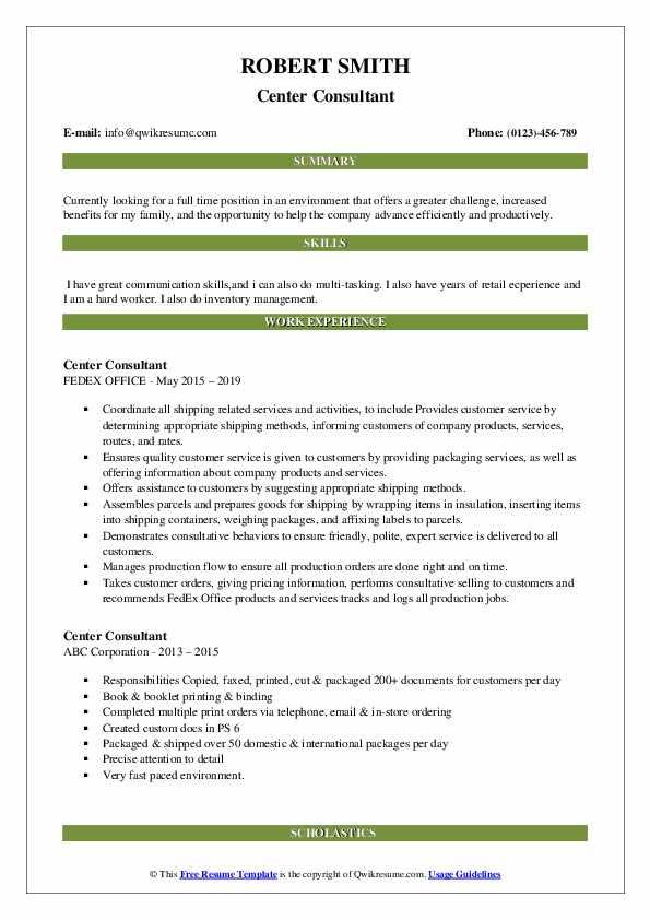 Center Consultant Resume example