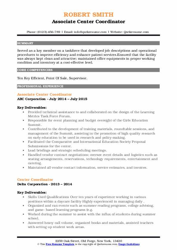 center coordinator resume samples  qwikresume