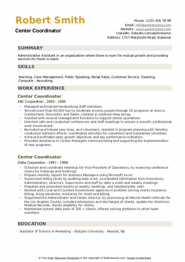 Center Coordinator Resume example
