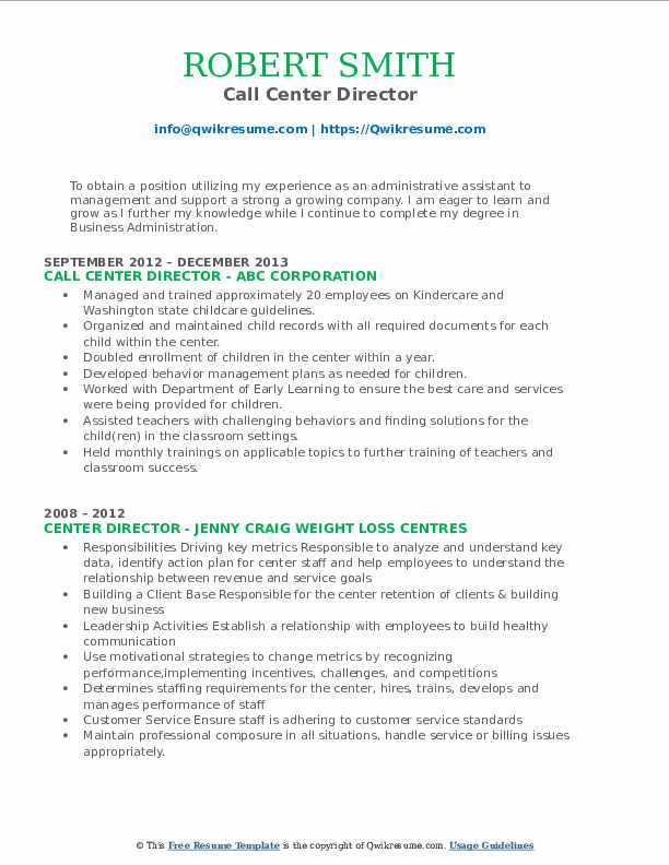 Call Center Director Resume Format