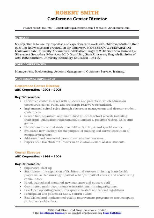 Conference Center Director Resume Format