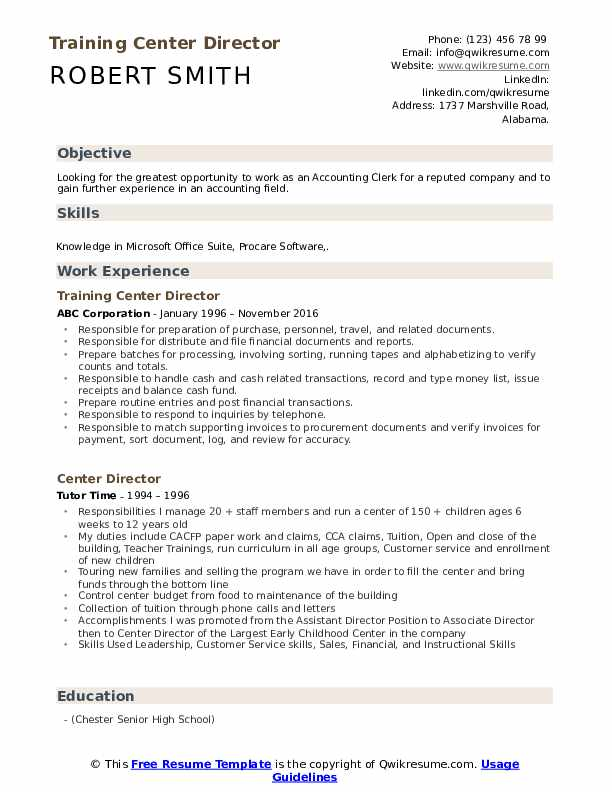 Training Center Director Resume Template