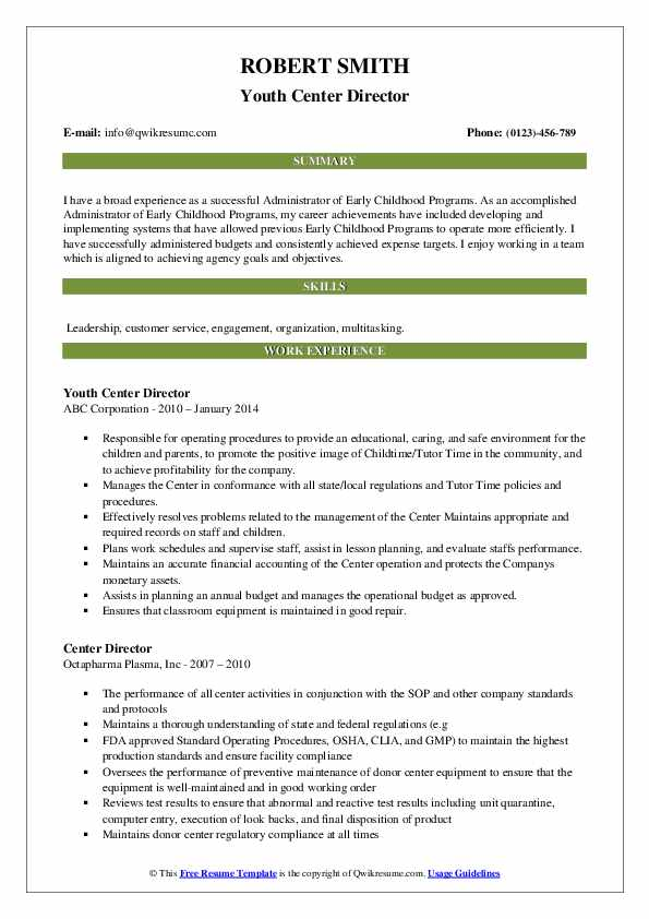 Youth Center Director Resume Template