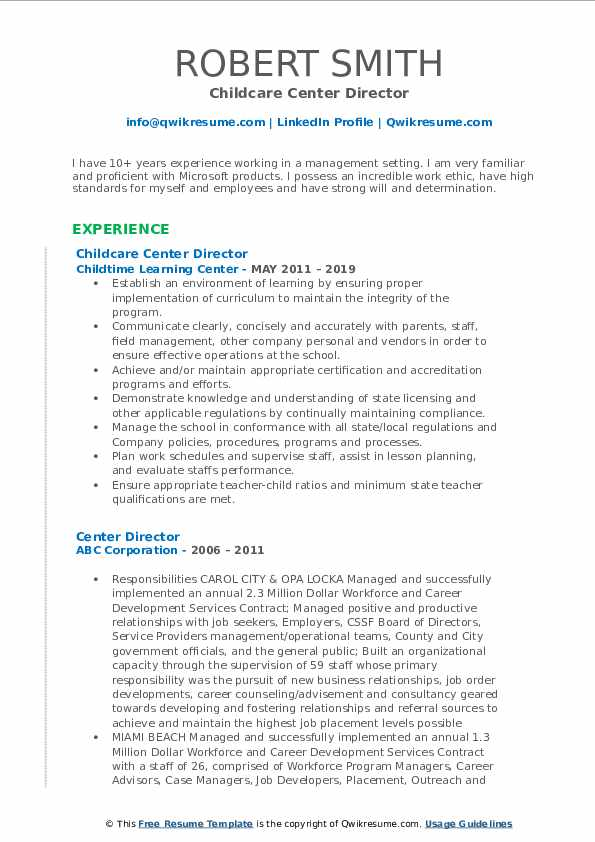 Childcare Center Director Resume Sample