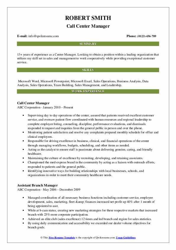 Call Center Manager Resume Format