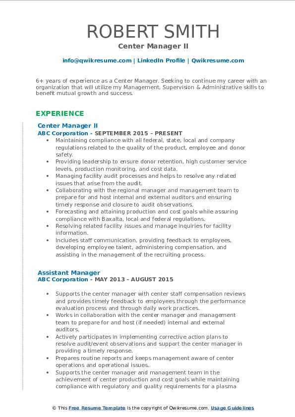 Center Manager II Resume Template