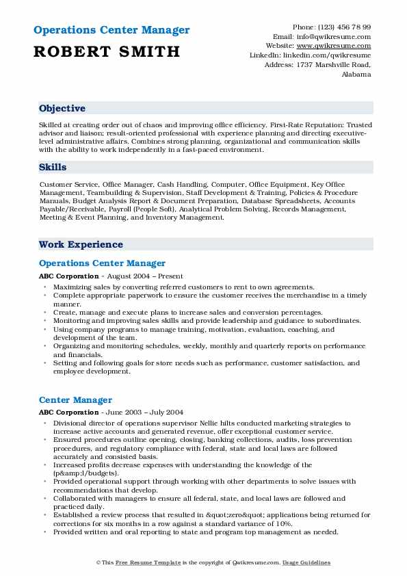 Operations Center Manager Resume Template
