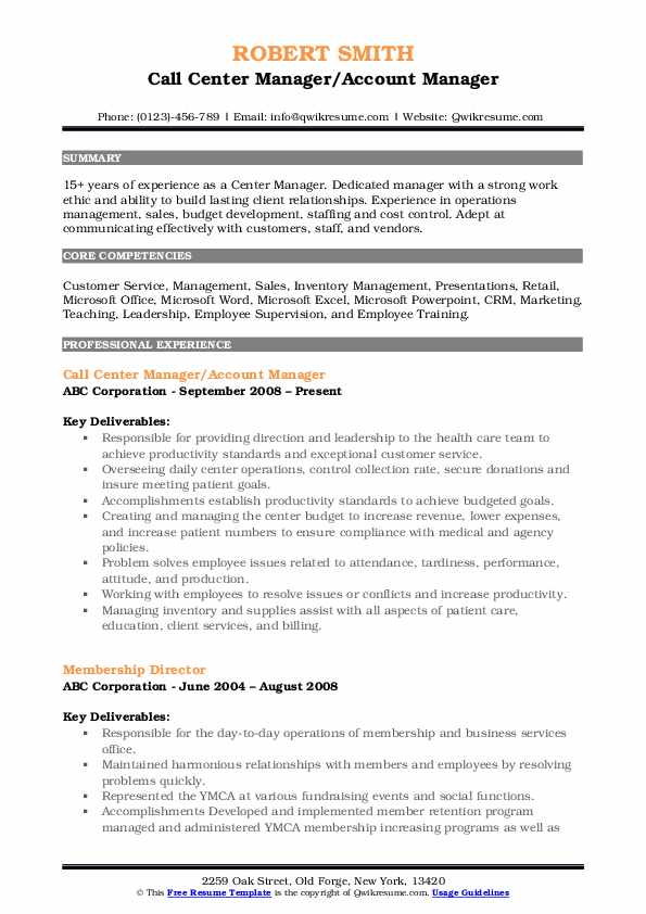 Call Center Manager/Account Manager Resume Format