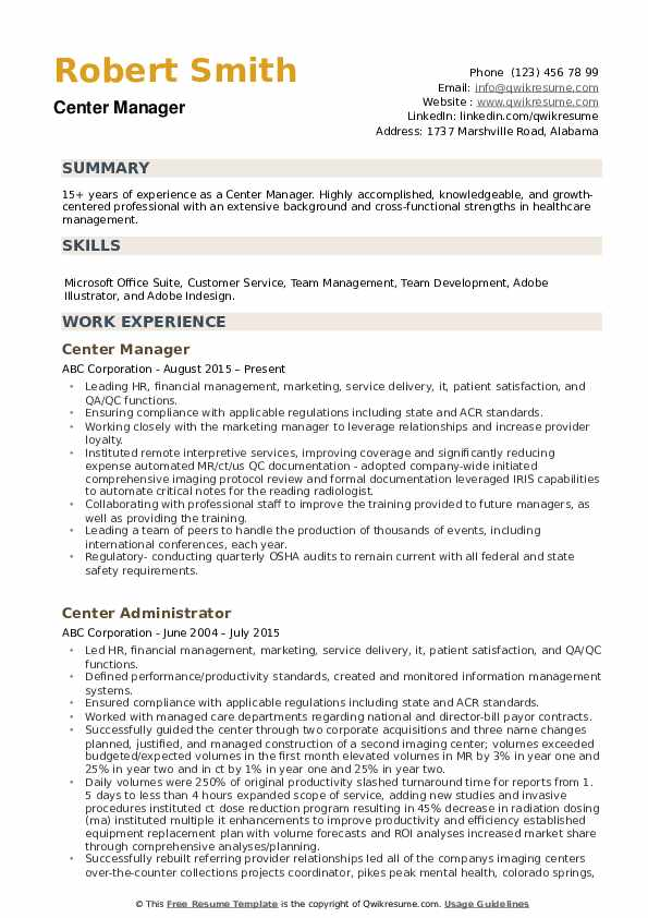 Center Manager Resume example