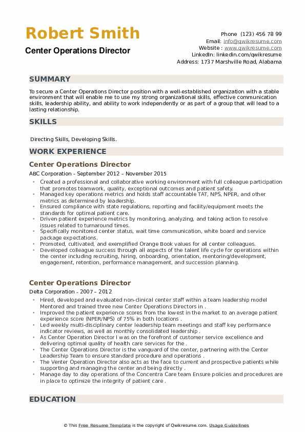 Center Operations Director Resume example