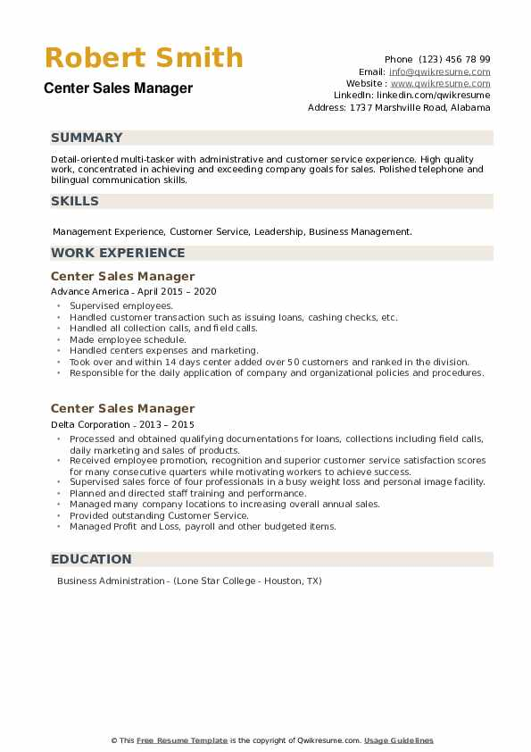 Center Sales Manager Resume example
