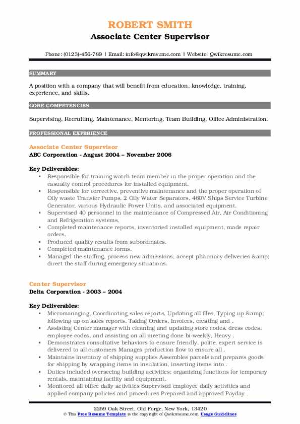Center Supervisor Resume example