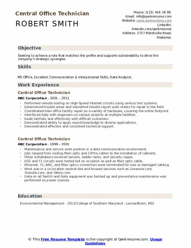 Central Office Technician Resume example