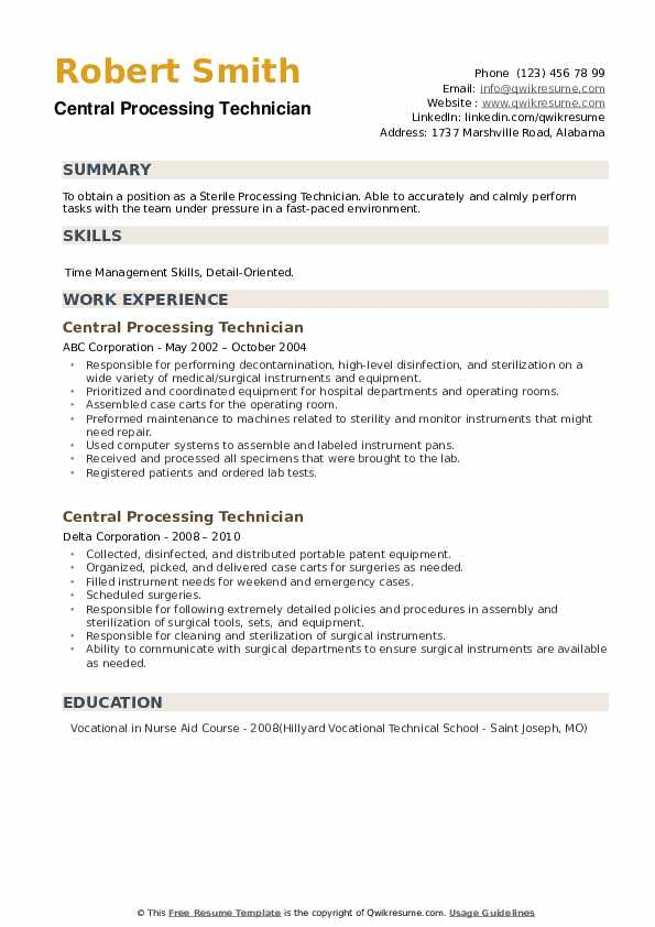 Central Processing Technician Resume example