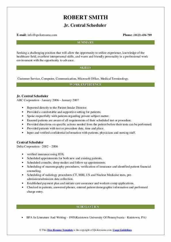 central scheduler resume samples  qwikresume