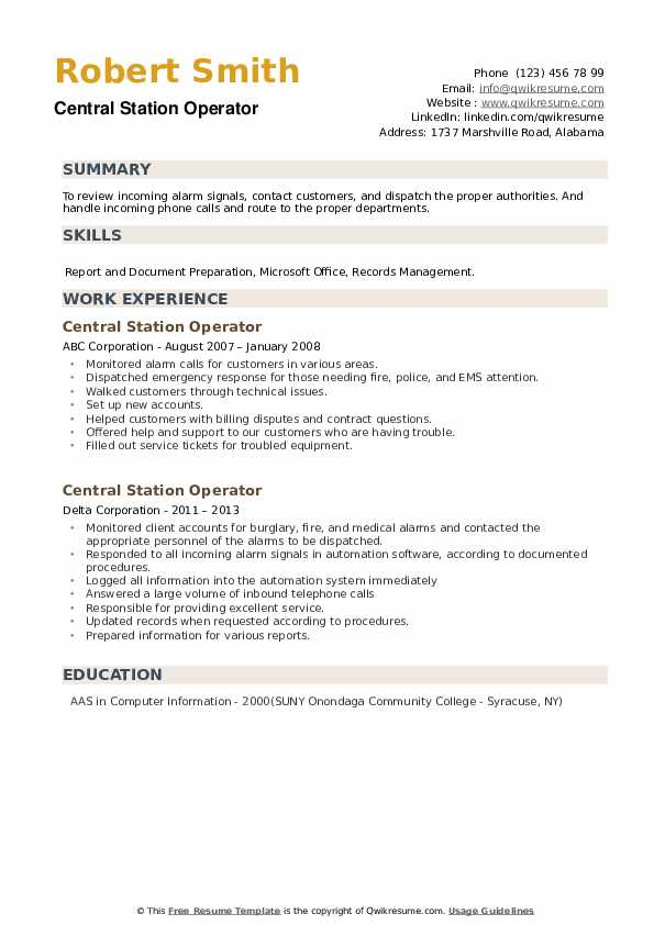 Central Station Operator Resume example