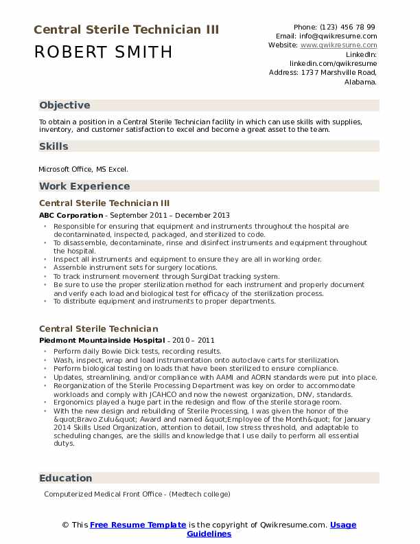 Collection Technician Resume example
