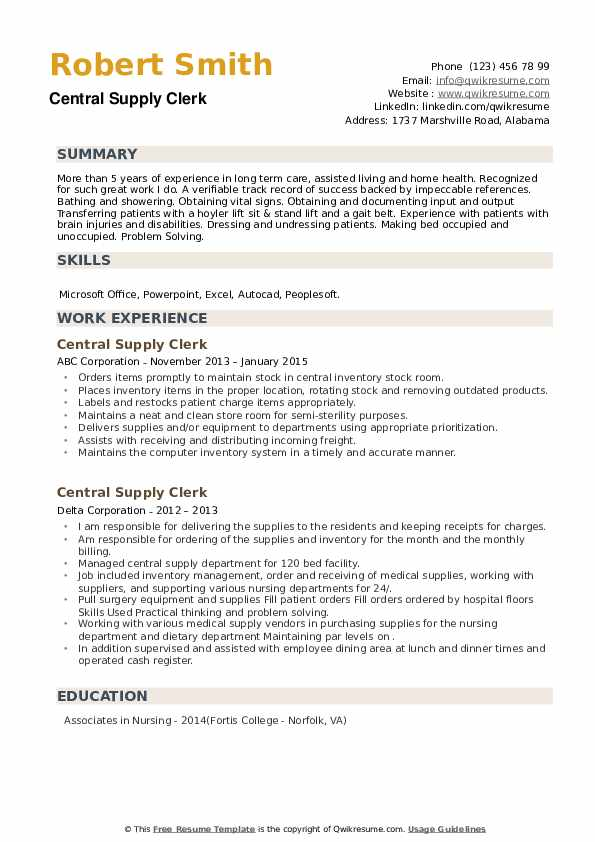 Central Supply Clerk Resume example