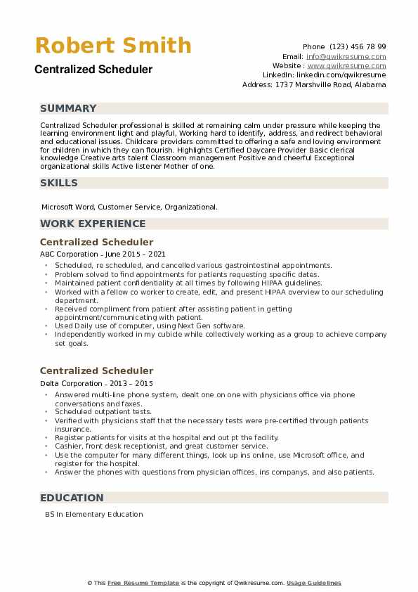 Centralized Scheduler Resume example