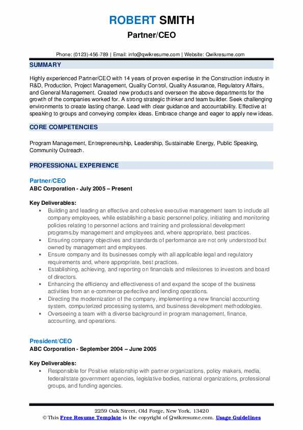 Partner/CEO Resume Example