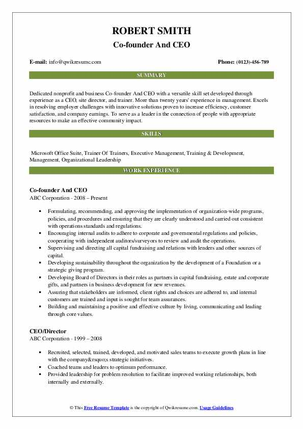 Co-founder And CEO Resume Sample