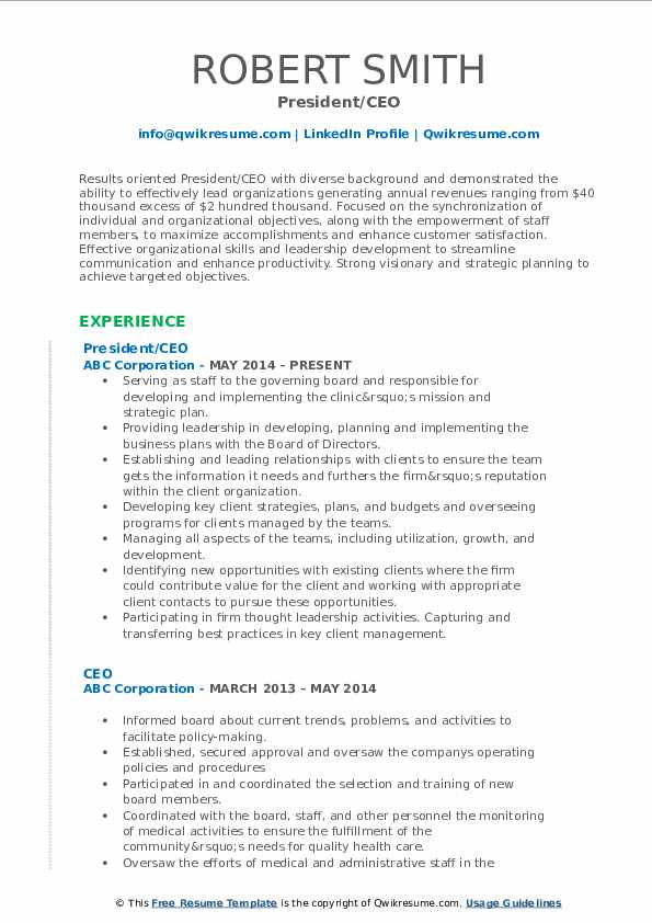 President/CEO Resume Template