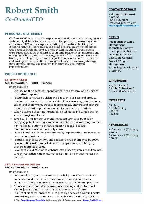 Co-Owner/CEO Resume Format