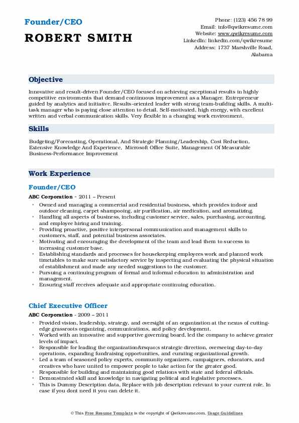 ceo resume samples