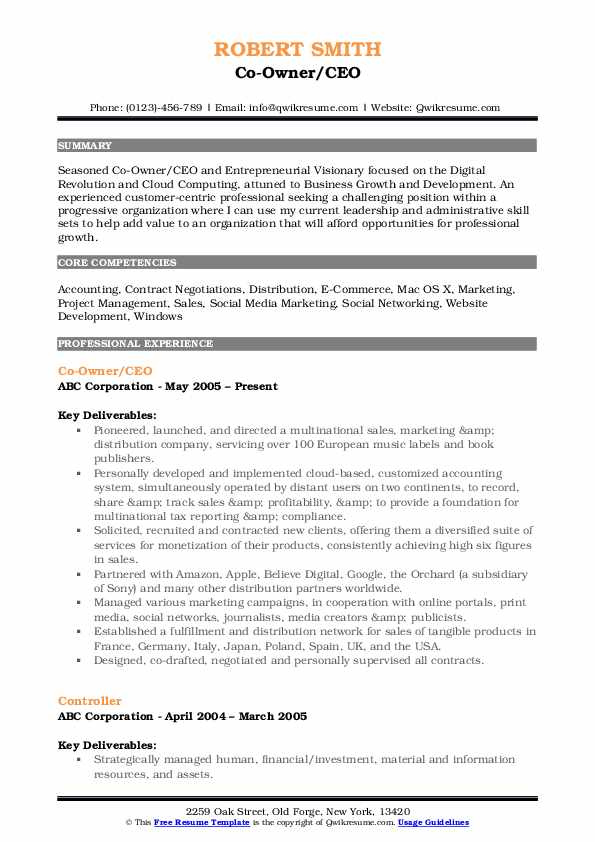 Co-Owner/CEO Resume Sample