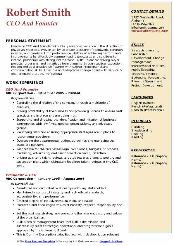 Ceo Resume Samples Qwikresume
