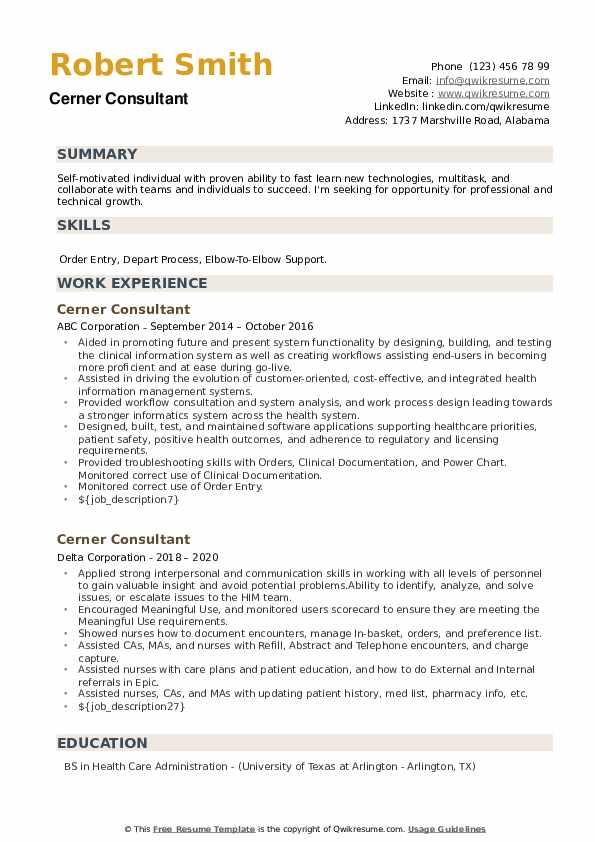 Cerner Consultant Resume example