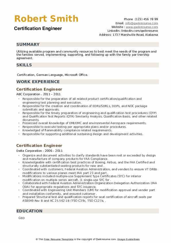 Certification Engineer Resume example