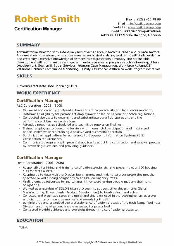 Certification Manager Resume example