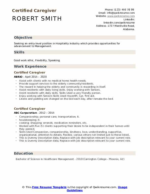 Certified Caregiver Resume example