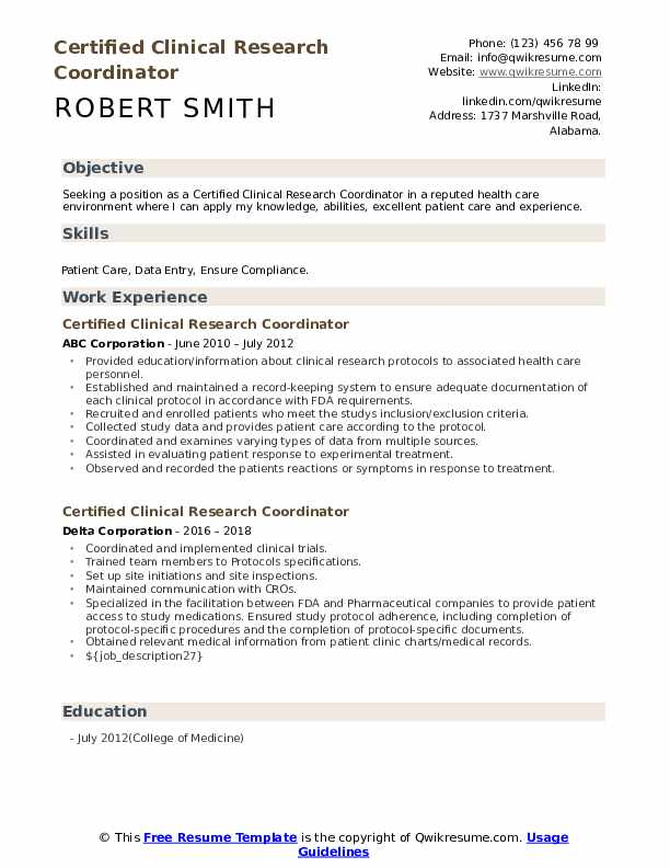 certified clinical research coordinator resume samples