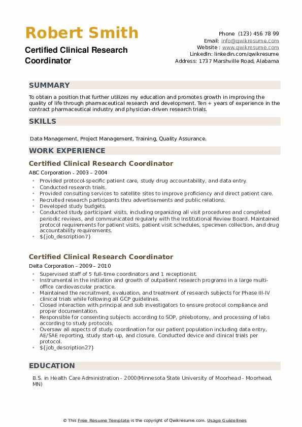 Certified Clinical Research Coordinator Resume example