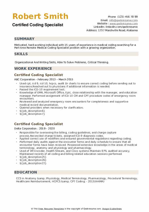 Certified Coding Specialist Resume example