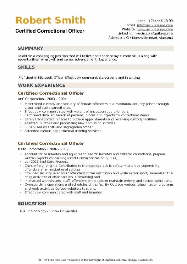 Certified Correctional Officer Resume example