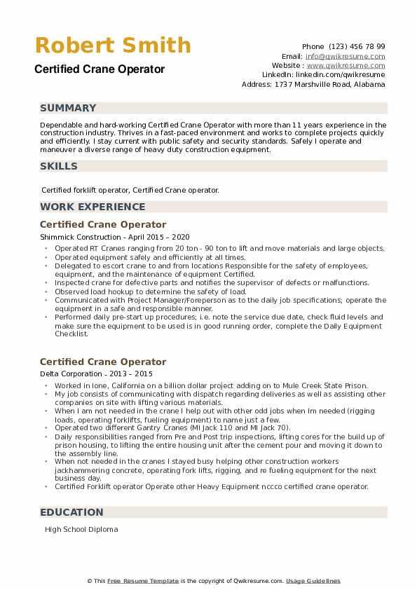 Certified Crane Operator Resume example