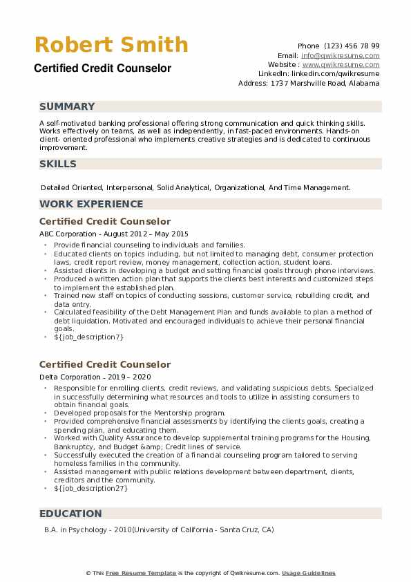 Certified Credit Counselor Resume example