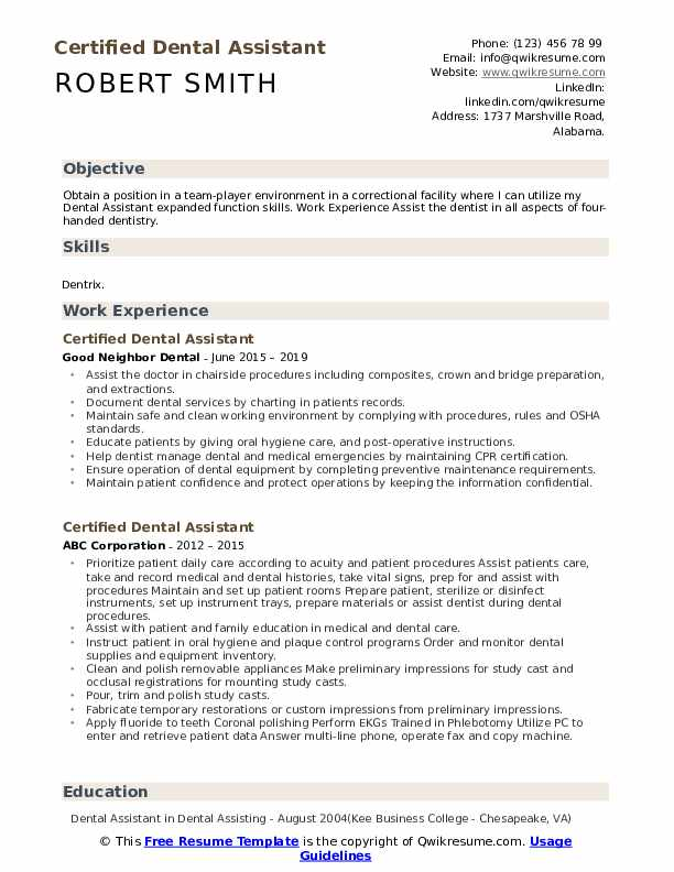 Certified Dental Assistant Resume Model