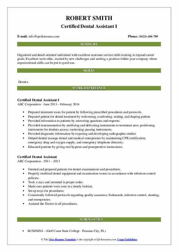 Certified Dental Assistant I Resume Format